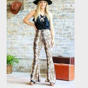 L&B Snakeskin Flare Jeans
